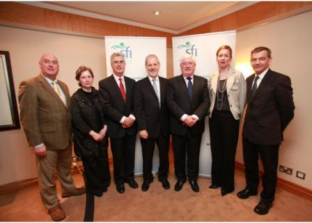 Prof Brian Harvey (RCSI), Dr Frances Horgan (RCSI), Dr Tony Betts (DIT), Prof Frank Gannon (SFI), Minister for Enterprise, Trade and Innovation Batt O' Keefe, TD, Ms Louise Keating (RCSI), Dr Max Ammann (DIT)
